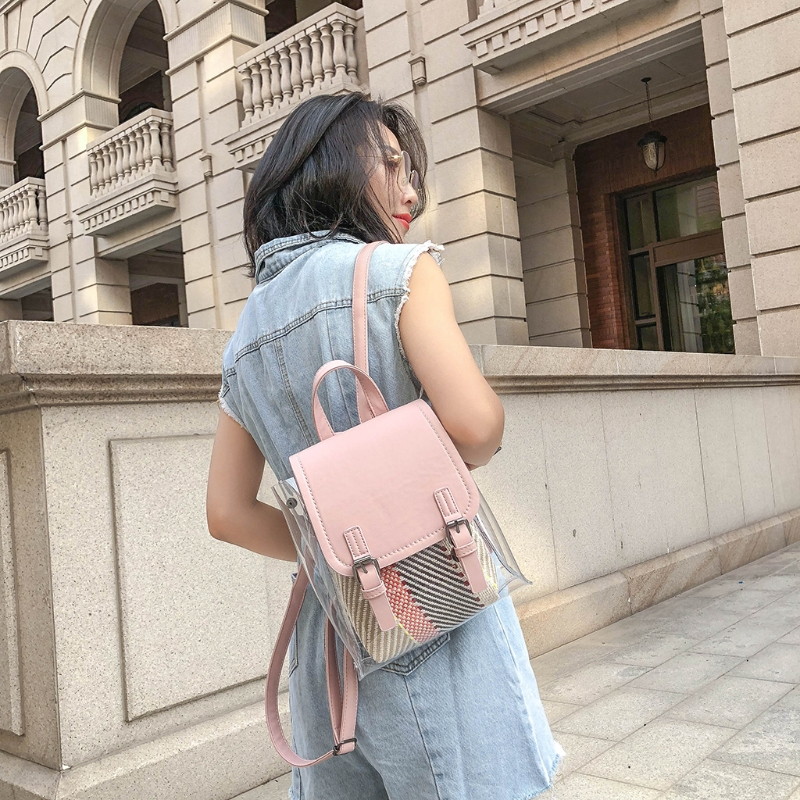 School Bag 9301 Travel Transparent Plastic Casual Straw Inner Backpack Female Girls Vintage sunny shop pvc clear backpack set women with straw inner bag female 2018 summer beach bagpack for girls school small kawaii pink
