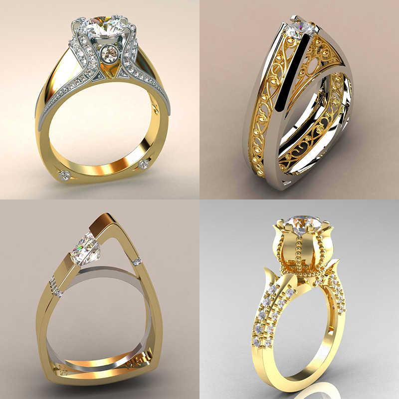 Anillo de piedra de circón pequeño de lujo para mujer, estilo único, cristal, color dorado y plateado, anillo de rosas, anillo de compromiso, anillos de compromiso para mujer