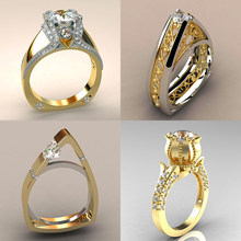 Luxury Female Small Zircon Stone Ring Unique Style Crystal Silver Gold Color Rose Flower Ring Promise Engagement Rings For Women(China)