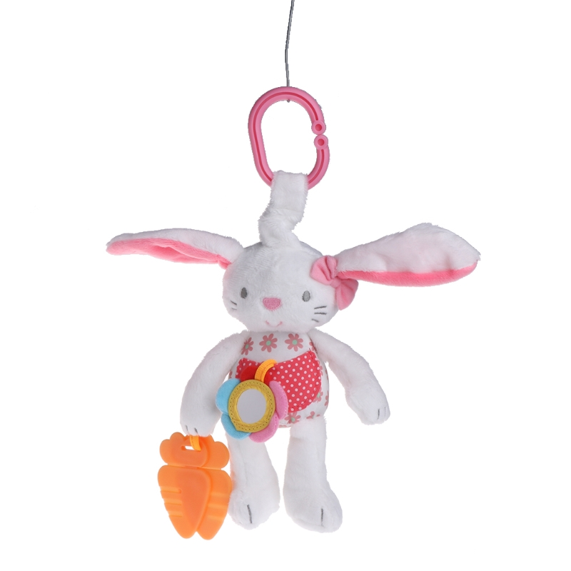 Soft Plush Rabbit Baby Rattle Baby Toy Bed Hanging Animal Early Education Toy