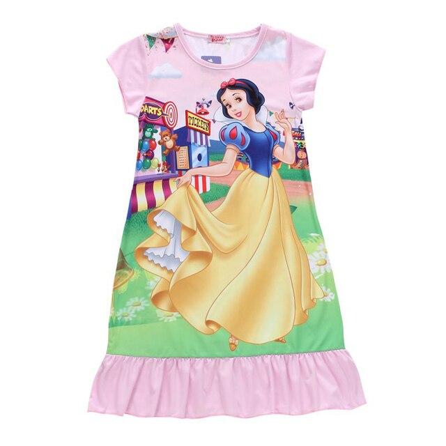 5b0ef718963f Snow white Princess Short Sleeve Summer Dress for girls Kids Nightdress  Party Dress Children Nightgown home Sleepwear