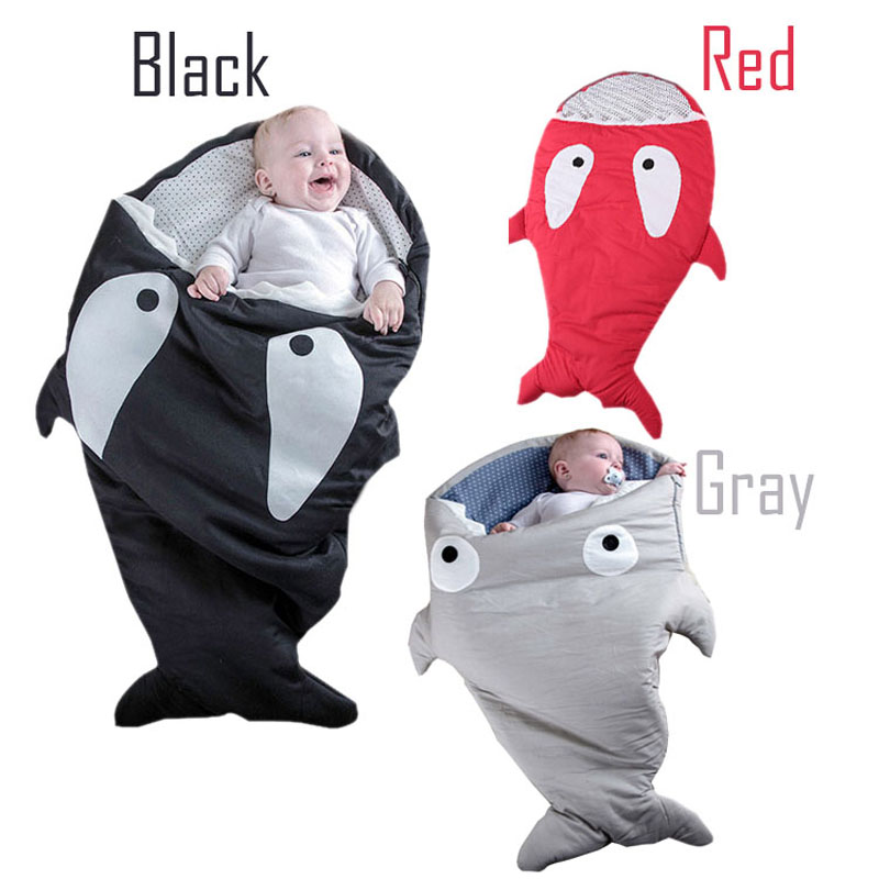 warm cotton kids shark sleeping bag Newborns sleeping bag Winter Strollers Bed Swaddle Blanket Wrap cute Bedding baby sleeping