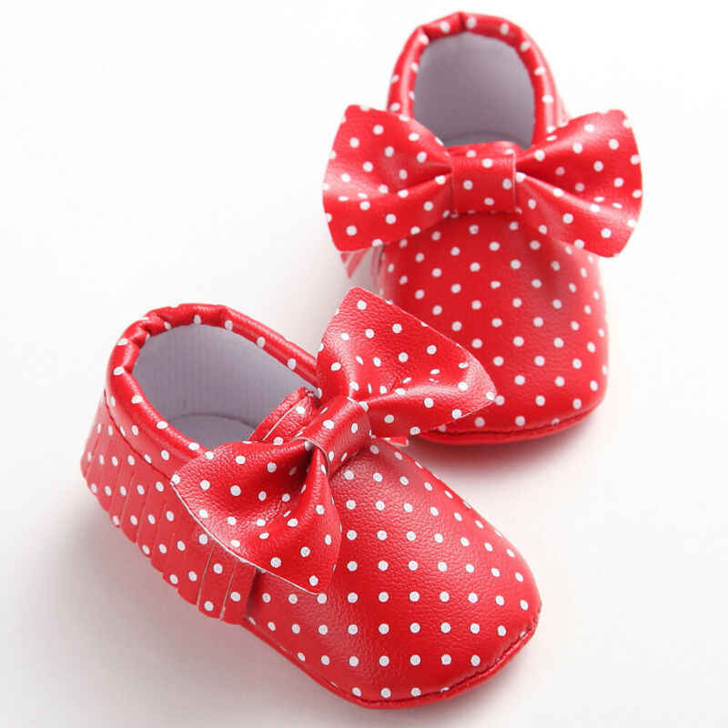 2019 bebé primeros caminantes bebé recién nacido bebé niña princesa Bowknot cuna zapatos punto borla suave suela cochecito antideslizante prewalker 0-18M