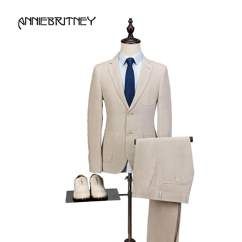 2018 новый бренд Ivory бежевый льняной мужской костюм комплект Slim Fit Стиль Летняя Пляжная Свадьба Блейзер для выпускного куртка + брюки 2 шт. Terno