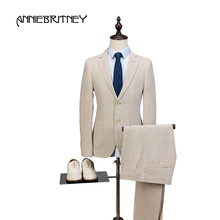 2018 New Brand Ivory Beige Linen Men Suit Set Slim Fit Style Summer Beach Wedding Blazer Prom Tuxedo Jacket+Pant 2 Piece Terno