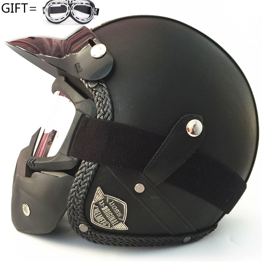 Black Open Face Half PU Leather Helmet Moto Motorcycle Helmets vintage Motorbike Headgear Casque Casco For Harley helmet