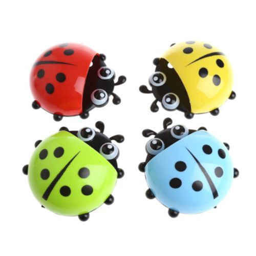 CHARMING CARTOON LADYBUG SUCKER SUCTION HOOK TOOTH BRUSH HOLDER FOR KIDS