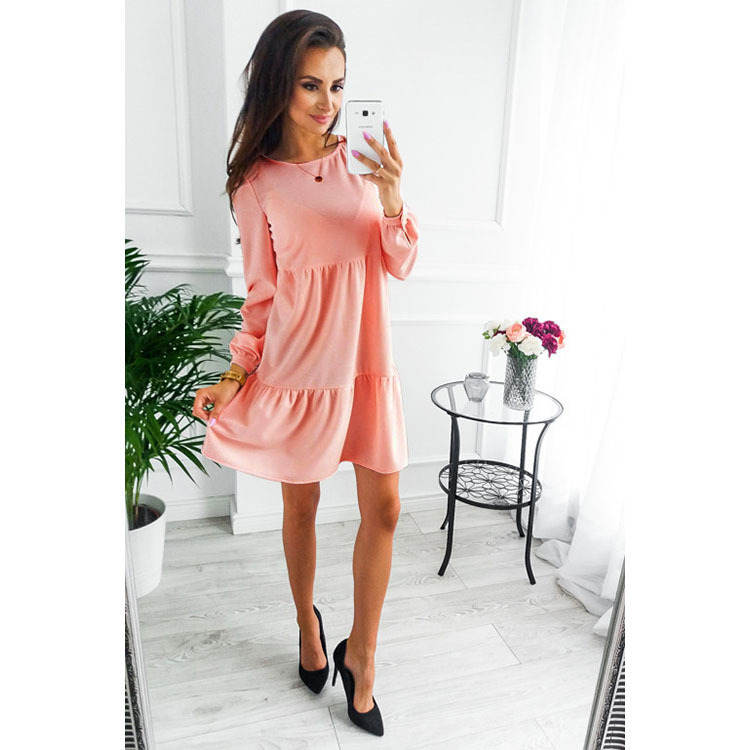 Autumn Winter Fashion Long Sleeve Draped <font><b>Dresses</b></font> New <font><b>Women</b></font> <font><b>Dress</b></font> <font><b>Blue</b></font> <font><b>Pink</b></font> ArmyGreen <font><b>Womens</b></font> Clothing <font><b>Sexy</b></font> Mini <font><b>Dress</b></font> image
