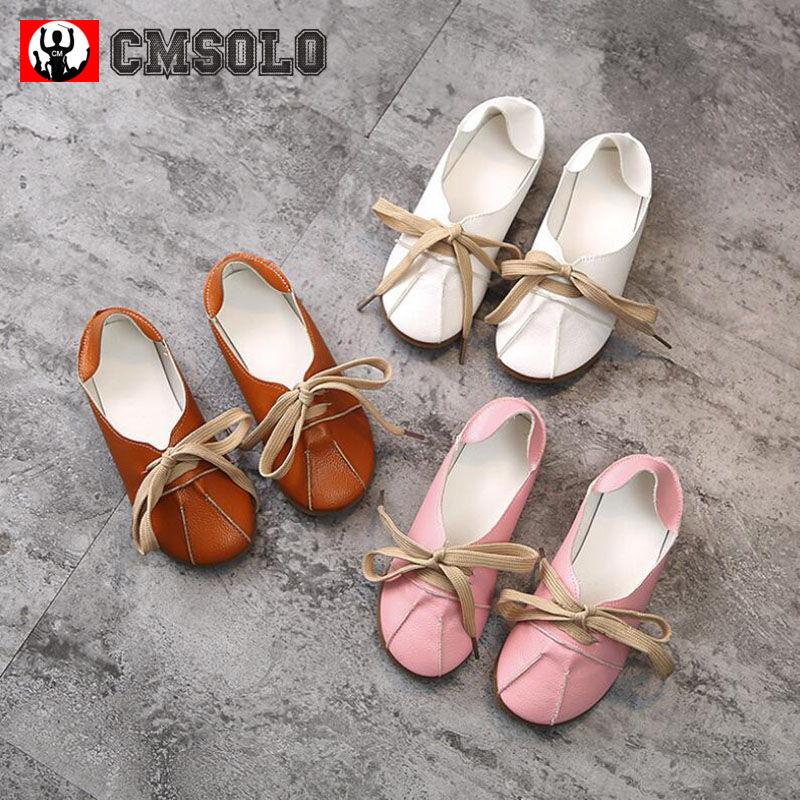 CMSOLO Shoes For Girls Spring Children Shoes Boys PU Leather Soft Breathable Flat Pink White Rubber Two Kinds Lacing 2018 New