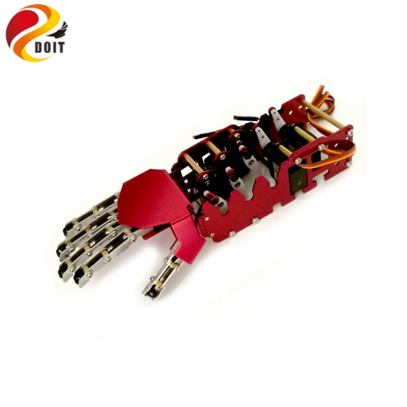 5DOF Robot hand/five fingers/Metal Manipulator arm/Mini bionic hand/gripper/robot/car accessories/DIY RC Toy 5dof robot humanoid metal manipulator five fingers anthropomorphic left right hand with servo