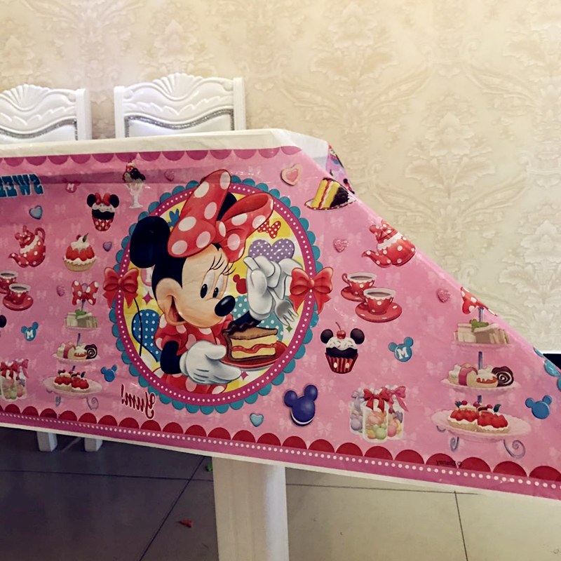 Minnie Mouse Plastic Table Covers Girls The First Birthday Party Supplies Favors Baby Shower Disposable Table Cloths Decorations