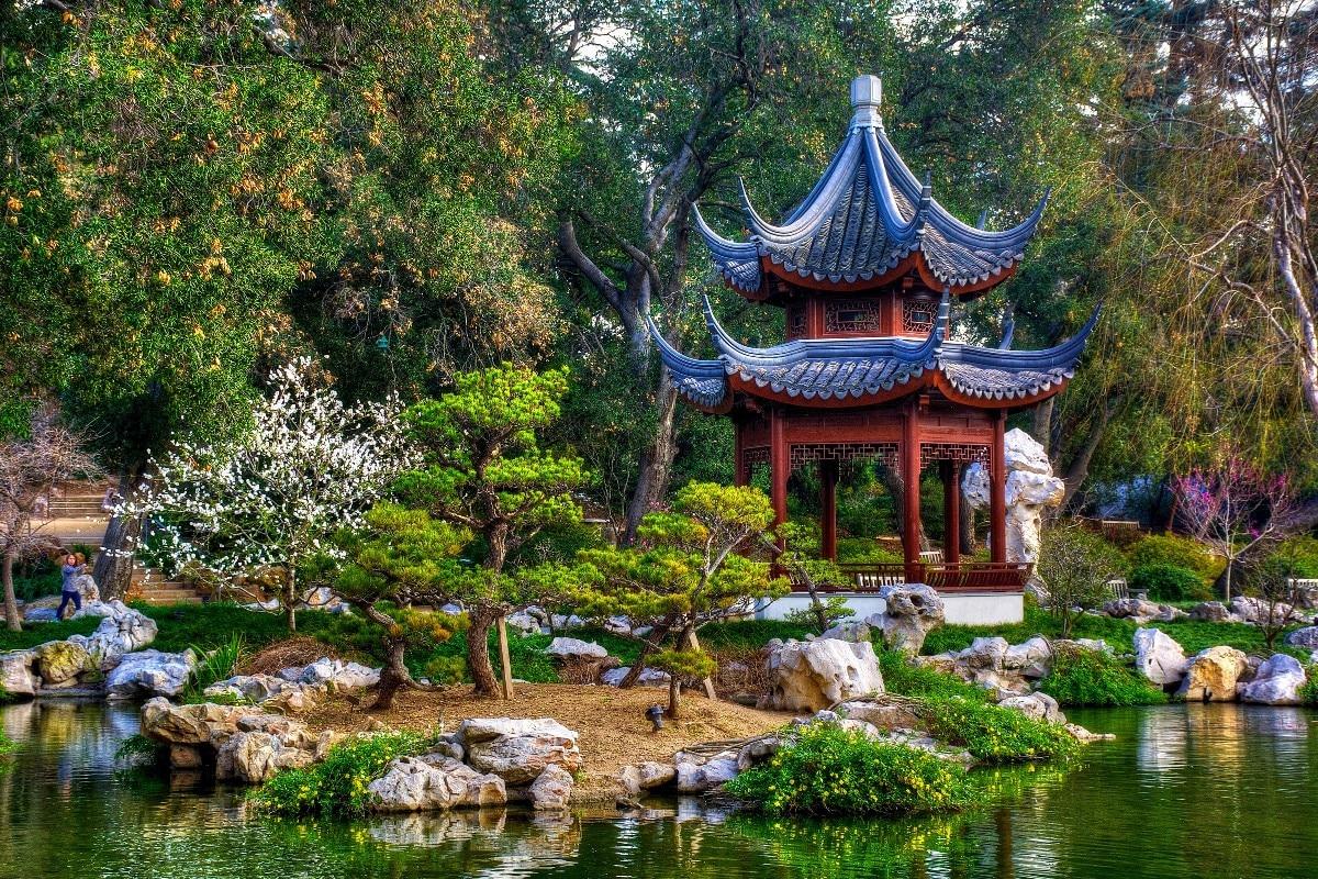 Japanese garden pond San Marino gazebo trees Park MM522 living room ...