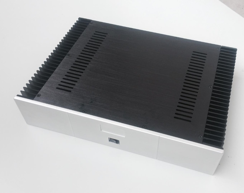 QUEENWY 4309 CNC full aluminum Class A power Case Chassis Integrated Digital Amplifier box Part 430mm*90mm*308mm 430*90*308mm 3206 amplifier aluminum rounded chassis preamplifier dac amp case decoder tube amp enclosure box 320 76 250mm