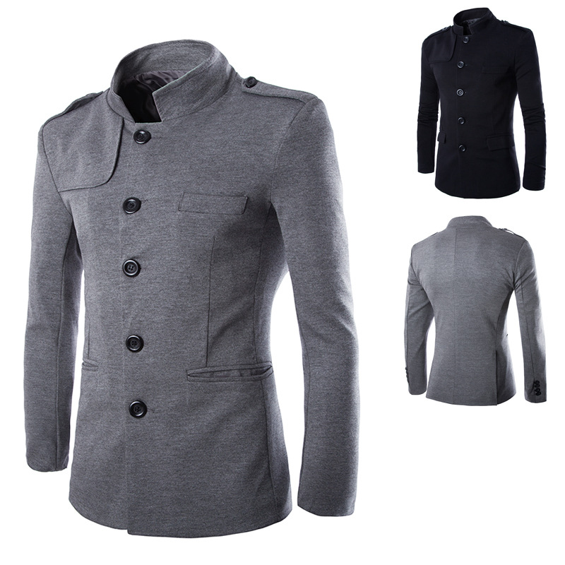 New Chinese Style Business Men Casual Stand Collar Fashion Blazer Male Clothes Slim Fit Mens Coat Dropshipping Jacket Size S-2XL