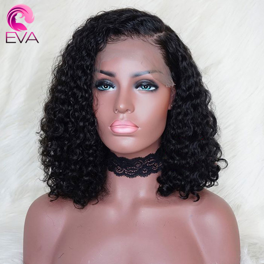 Eva Curly 360 Lace Frontal Wig Pre Plucked With Baby Hair Brazilian Short Lace Front Human Hair Wigs For Black Women Remy Hair