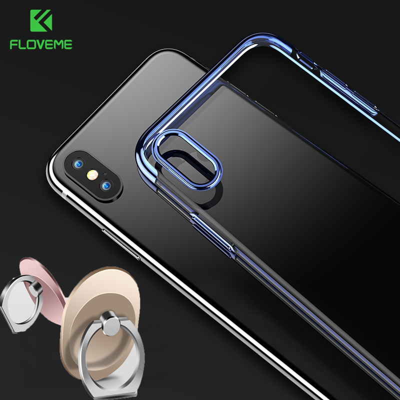 FLOVEME Case for iPhone X 6 6s Plus 7 7 Plus Phone Cases for iPhone 8 8 Plus Case Soft Gold Plated Transparent TPU Cover Fundas