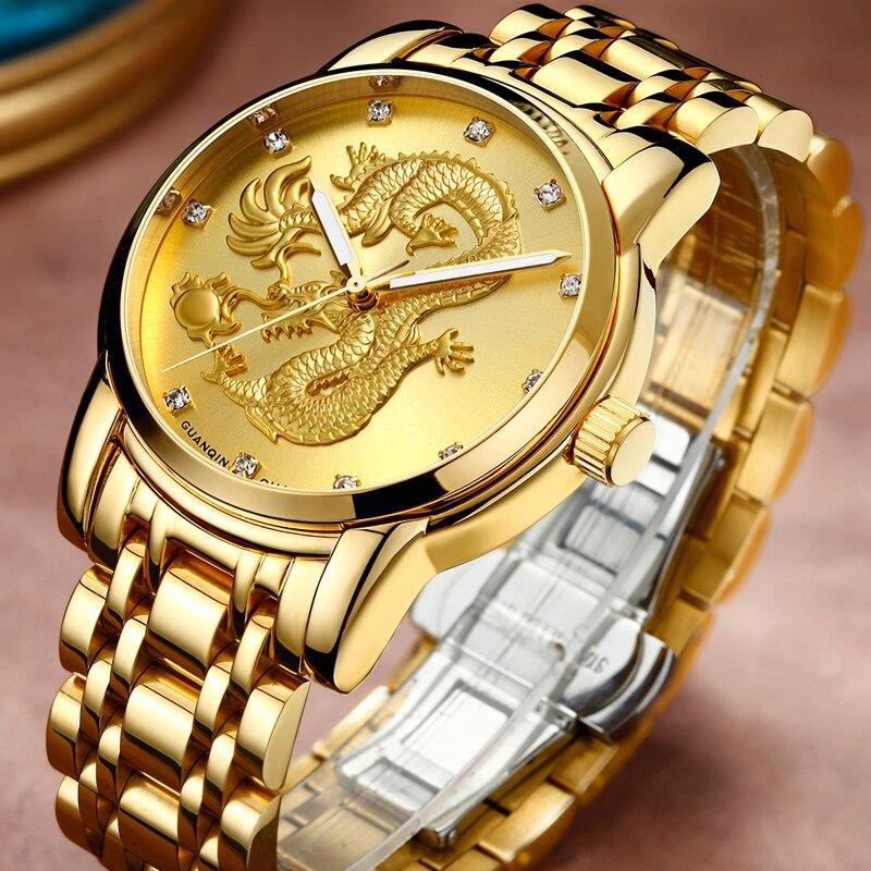 8607eaa11ab GUANQIN Homens Relógios Top Marca de Luxo Escultura Do Dragão de Ouro  Relógio de Quartzo Homens