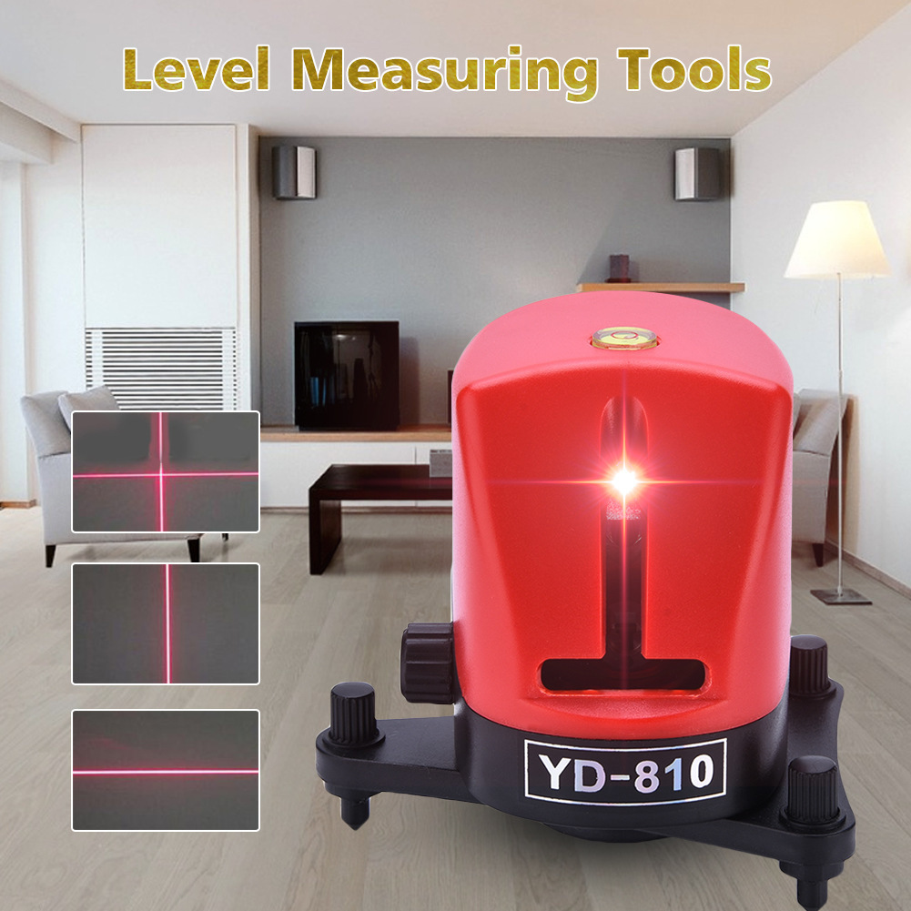 YD-810 360 degree self-leveling Cross Red Laser Level Wave length 635nm 1V1H Red 2 line 1 point Mini portable Instrument bracket стоимость