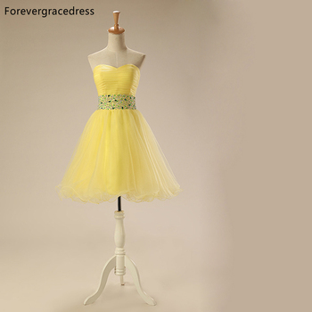 Forevergracedress 2018 A Line Yellow Colour Homecoming Dress Sweetheart Beaded Tulle Short Party Gown Plus Size Custom Made