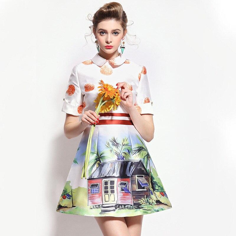 Fasicat Patterns One Piece Dress Peter Pan Collar vestidos femininos Short Sleeve A Line Above Knee Length Spring Dress Q150256