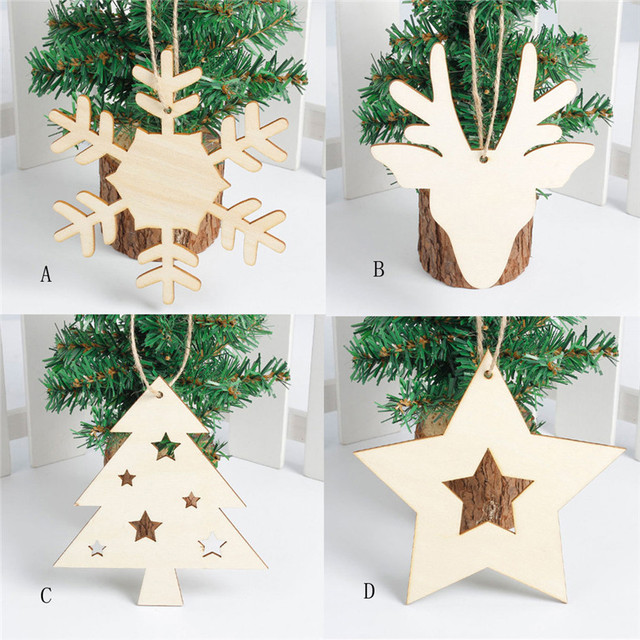 snowflake wood embellishments rustic christmas tree hanging ornament decor wholesale free shipping 4rc26