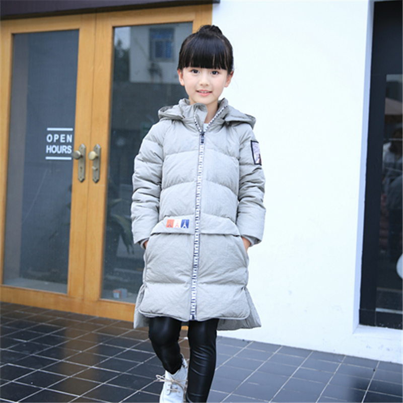 Winter jacket for girls boys detachable cap duck down and parks for Children long coat warm outerwear for girls snowsuit newest цена и фото