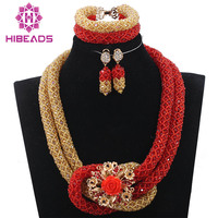 Red and Gold Chunky Crystal Necklace Bracelet Earrings Set Pretty Women Jewelry Set Birthday Gift for Lady Free ShippingABH206