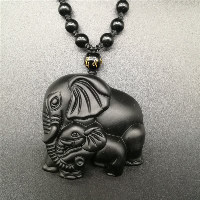 Black Obsidian Jewellery Mother Elephant /& Cute Baby Fashion Pendant Necklace