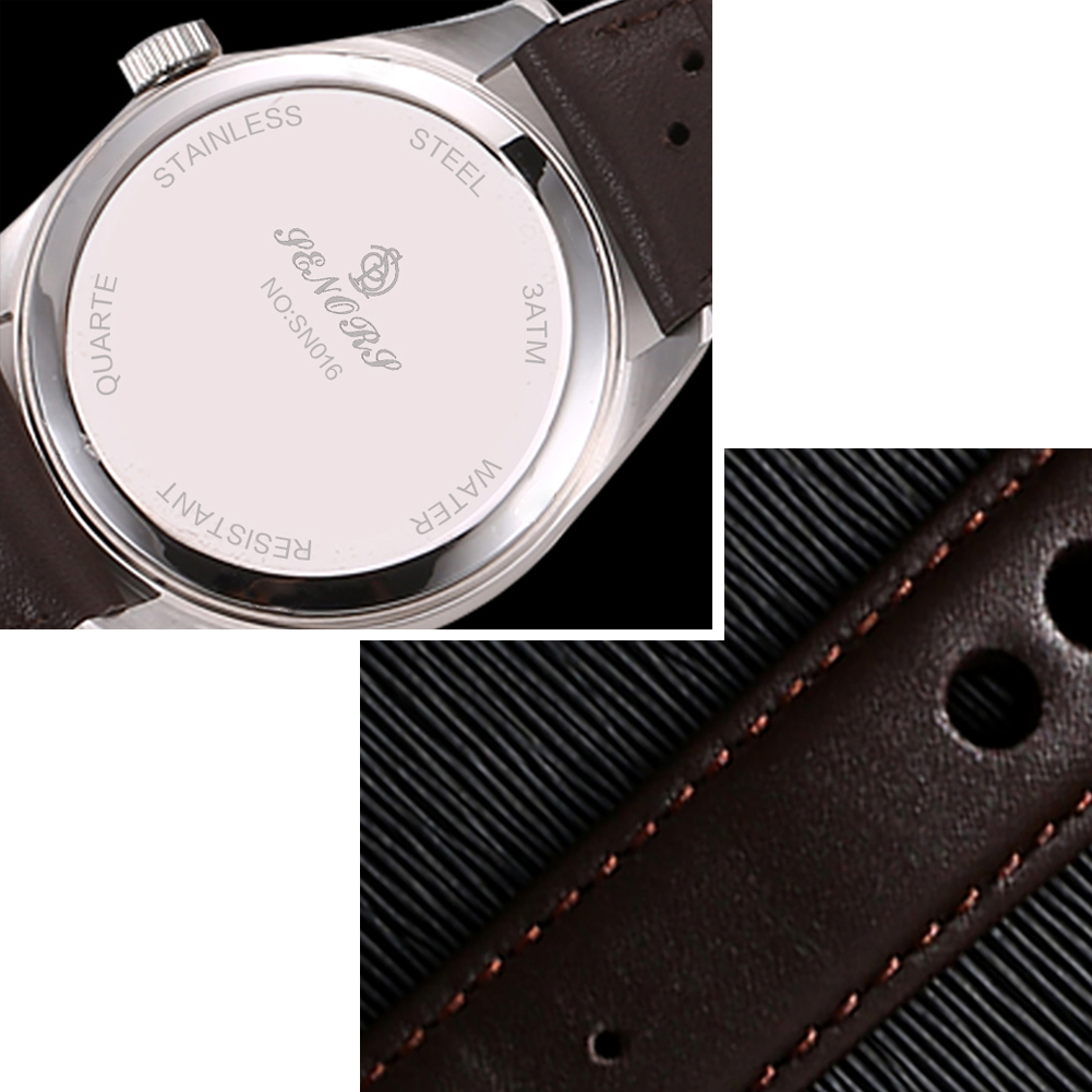 Men Fashion Business Round Dial Casual Quartz Wrist Watch Sub-dial Gift