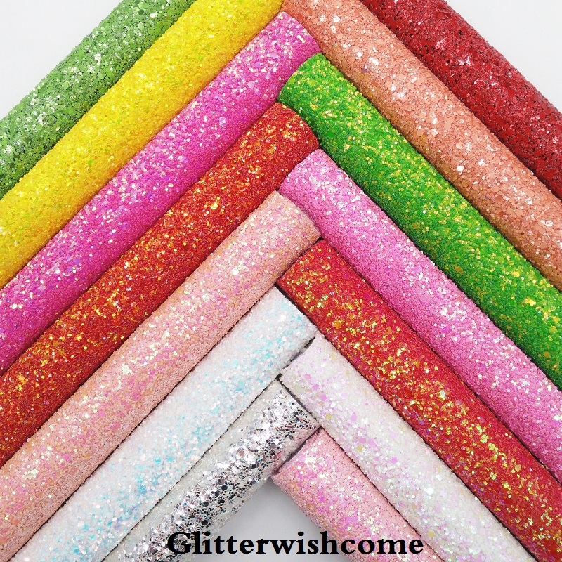 Glitterwishcome 21X29CM A4 Size Synthetic Leather, Chunky Glitter Leather Fabric Vinyl For Bows, GM043A