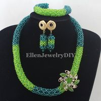 Apple Green/Peacock Green Nigerian wedding beads African beaded necklace jewelry sets india dubai bridal jewelry sets W12908