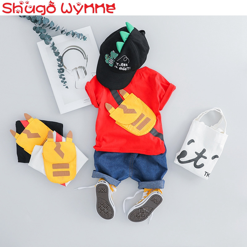 2019 Summer Baby Boys Clothing Sets Short Sleeve T Shirts Tops + Denim Jeans Pants Girls 2Pcs Suits Casual Kids Sport Tracksuits