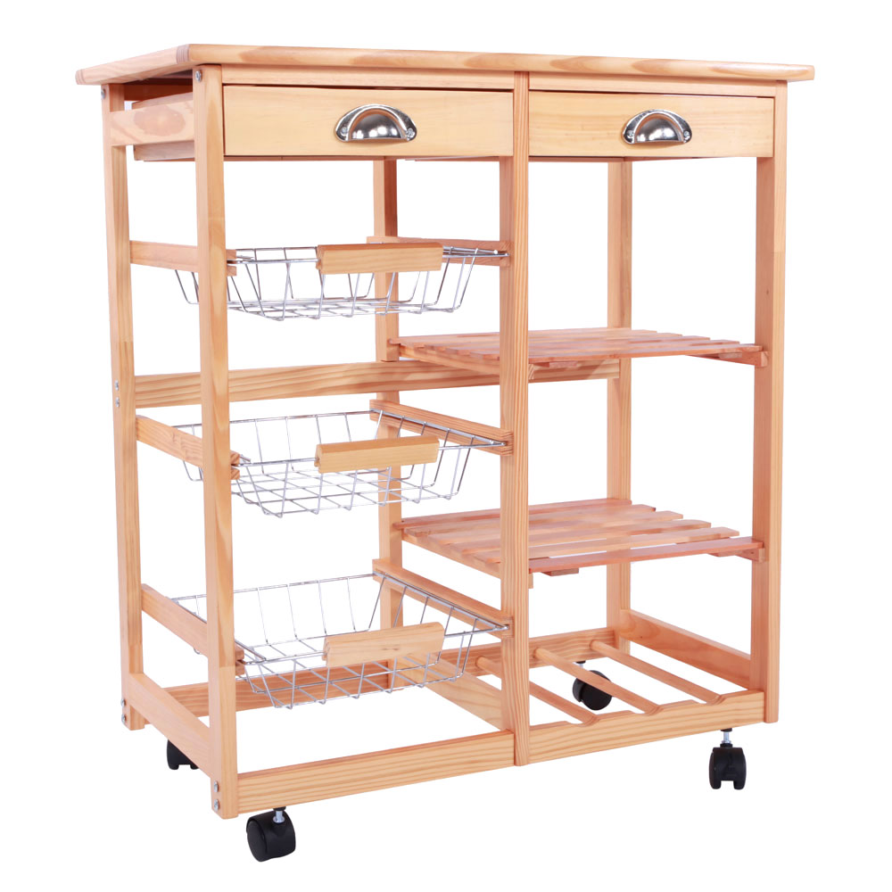 New Kitchen Trolley Cart Dining Shelf Island with Wine