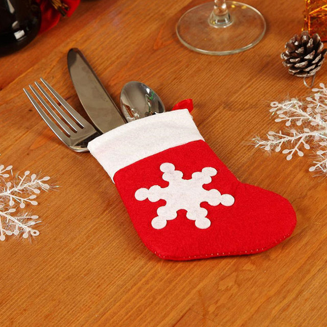 12pcs/set Christmas Eve Diner Tableware Bag Xmas Dining Room Decoration Supplies Cute socks Hats & 12pcs/set Christmas Eve Diner Tableware Bag Xmas Dining Room ...
