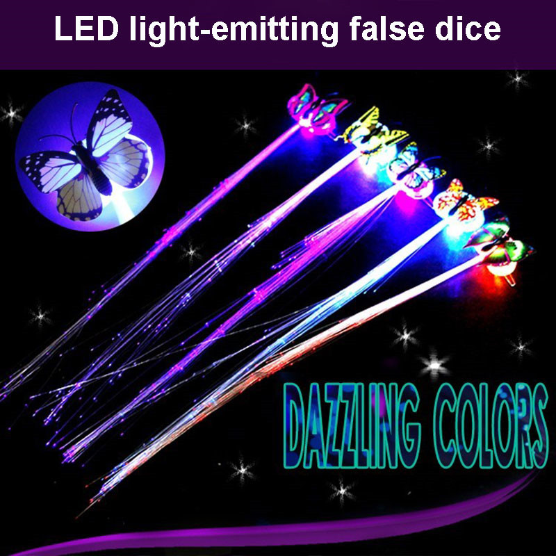 1PC Glow Blinking Hair Clip Flash LED Braid Show Party Toys Kids Headwear Optical Fiber Wire Hairpin Colorful Luminous Braid