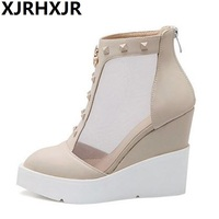 British Style Wedges Pumps Fashion Pointed Toe Women Shoes Casual Platforms High Heels Big Size
