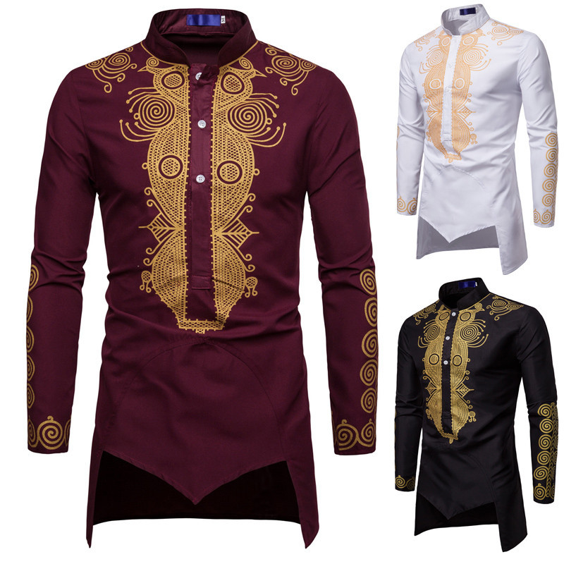 Men African Gold Polished Dashiki Turtleneck Half Button Shirt High Collar Asymmetrical Tailcoat Tunic Groom Top For Men 3XL-in Africa Clothing from Novelty & Special Use