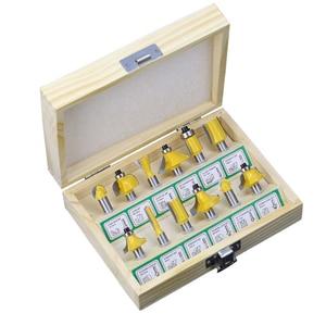 Image 1 - 12 pçs fresa conjunto de bits roteador 8mm cortador de madeira carboneto shank moinho carpintaria corte gravura escultura ferramentas corte