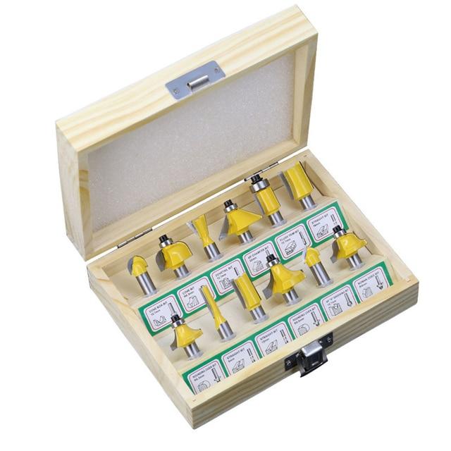 12 pçs fresa conjunto de bits roteador 8mm cortador de madeira carboneto shank moinho carpintaria corte gravura escultura ferramentas corte