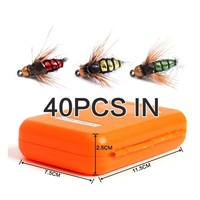 FIshing Hooks Emulation Insect Fly Fishhook High Carbon Steel Fly Fishing Hooks 40Pcs In A Box
