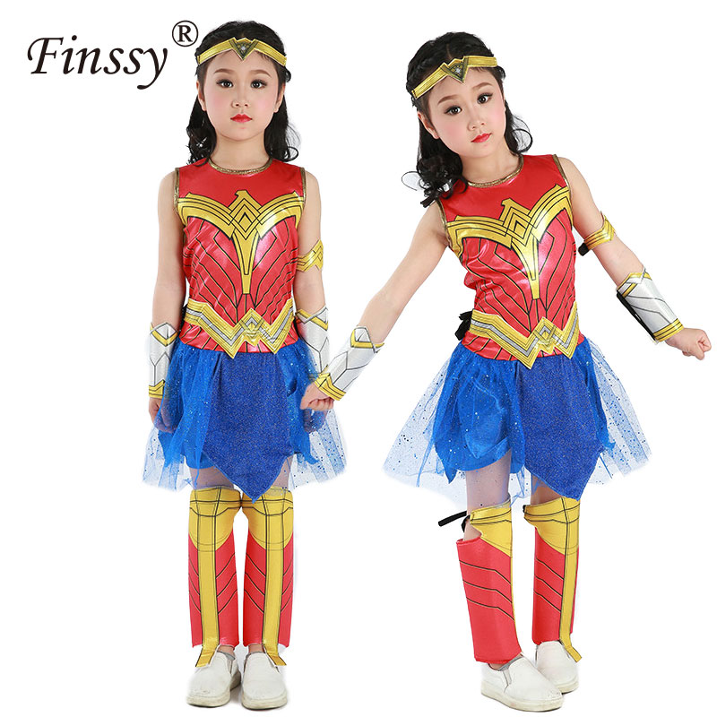 Halloween Party Dress Hot Movie Wonder Woman Cosplay Costumes Short Sleeve Dress For Kids Gift