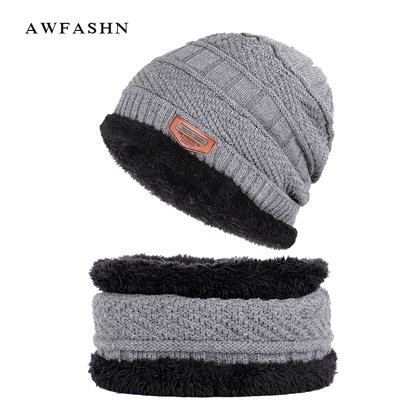 Lovely 2018 New Fashion Brand Hat Scarf 2 Pieces Set Plus Velvet Thickening Beanie Scarves Man Woman Warm Bone Solid Color Ski Soft