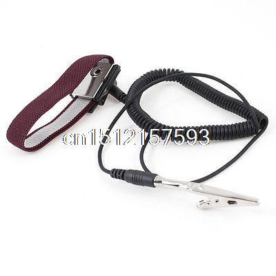 цена на Electronic Alligator Clip Black 55cm Coil Cable Antistatic Wrist Strap