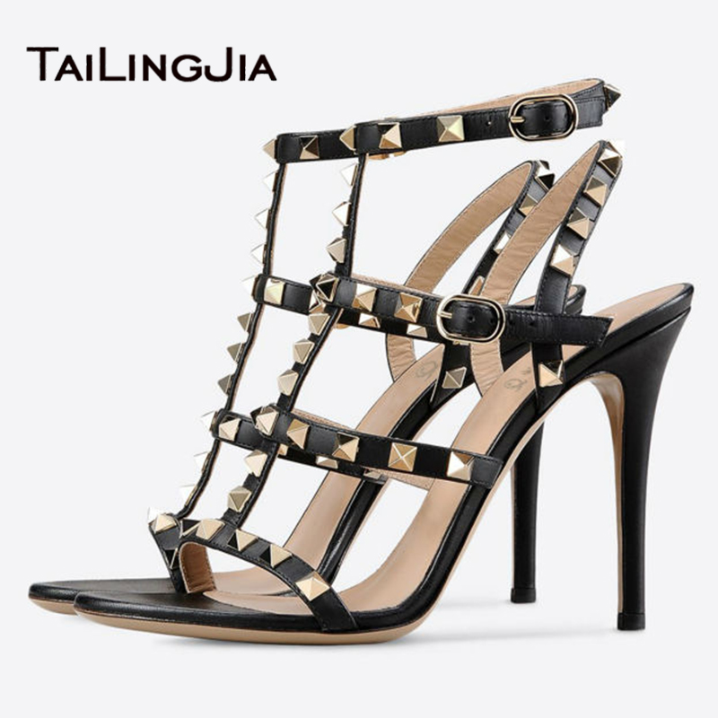 ФОТО Women Sandals 2017 Black Summer Rivets High Heels Cool Girl Gold Studs Sandals Ladies Stilettos Shoes For Party Dress Plus Size