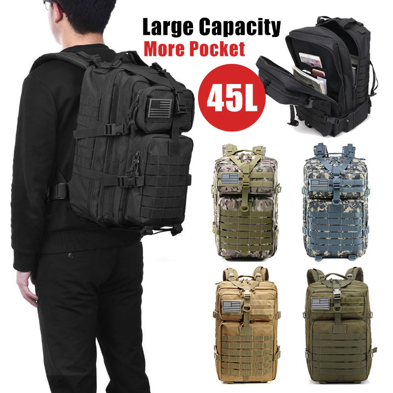 45L Large Capacity Man Army Military Tactical Backpacks Waterproof Bug Out Bag Outdoor Sport Hiking Camping