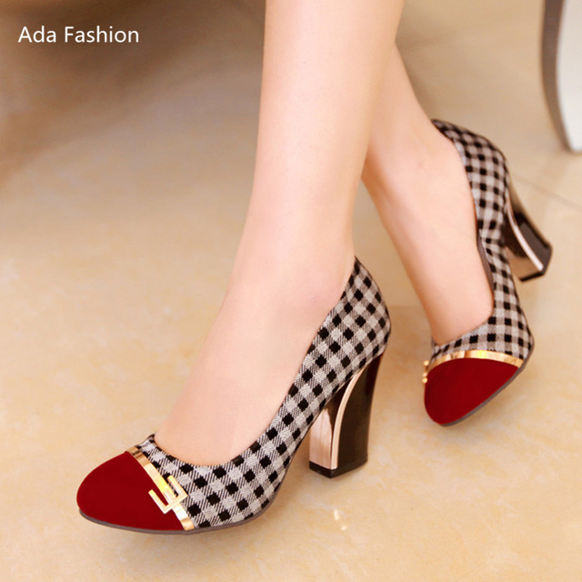 New 2017 spring female high heels thick heel shoes women pumps chaussure femme zapatos mujer dresses new fashion 2017 summer