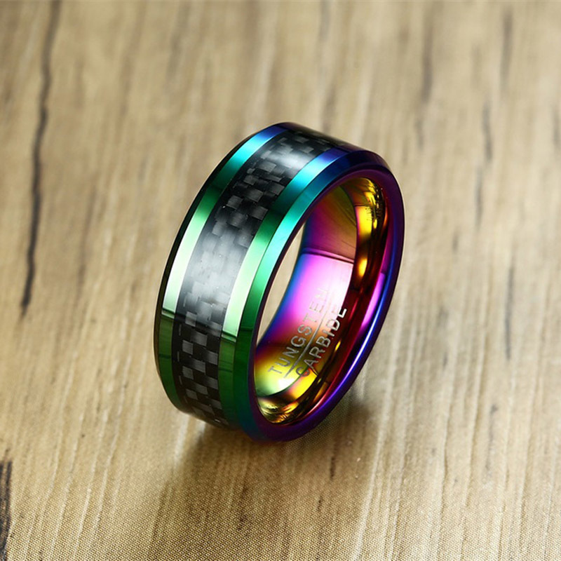 8MM Mens Anodized Rainbow Tungsten Carbide Ring With