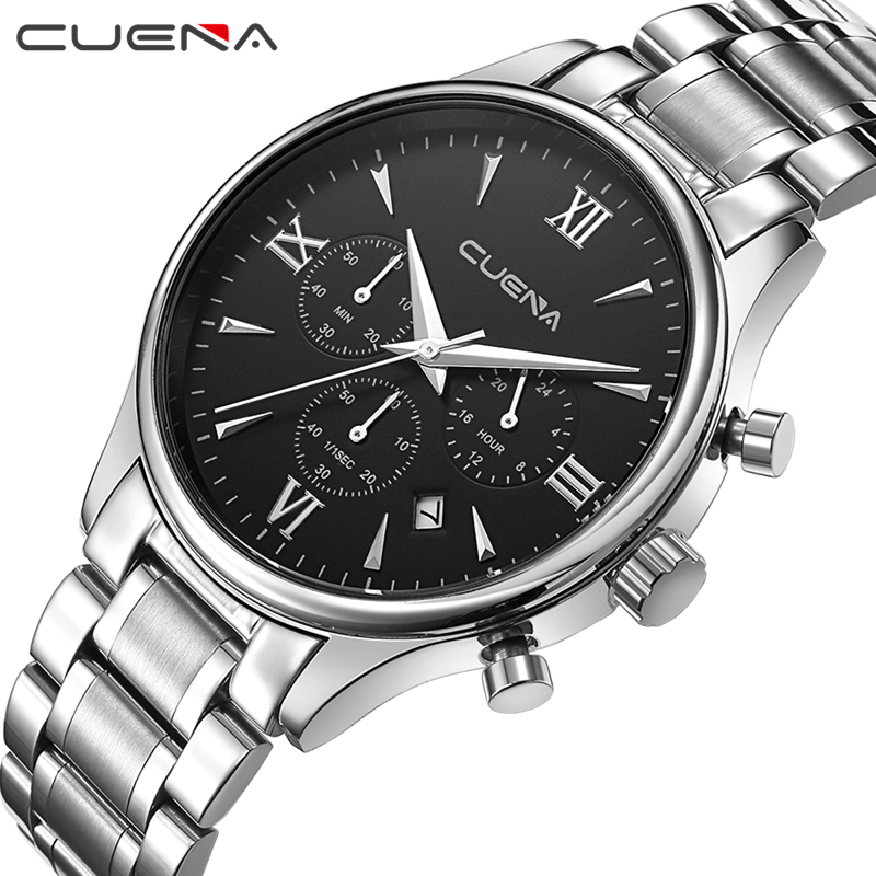 CUENA Men Quartz Watch Clock Reloj Stainless Steel Watches Relojes Six Pointer Movement Relogio Masculino Man Wristwatches 6802G relojes full stainless steel men s sprot watch black and white face vx42 movement