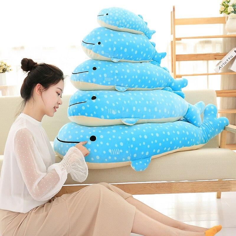 Супер мягкая плюшевая подушка 60 см 90 см, голубой цвет, Кит, плюшевая игрушка, кукла, подарок на день рождения