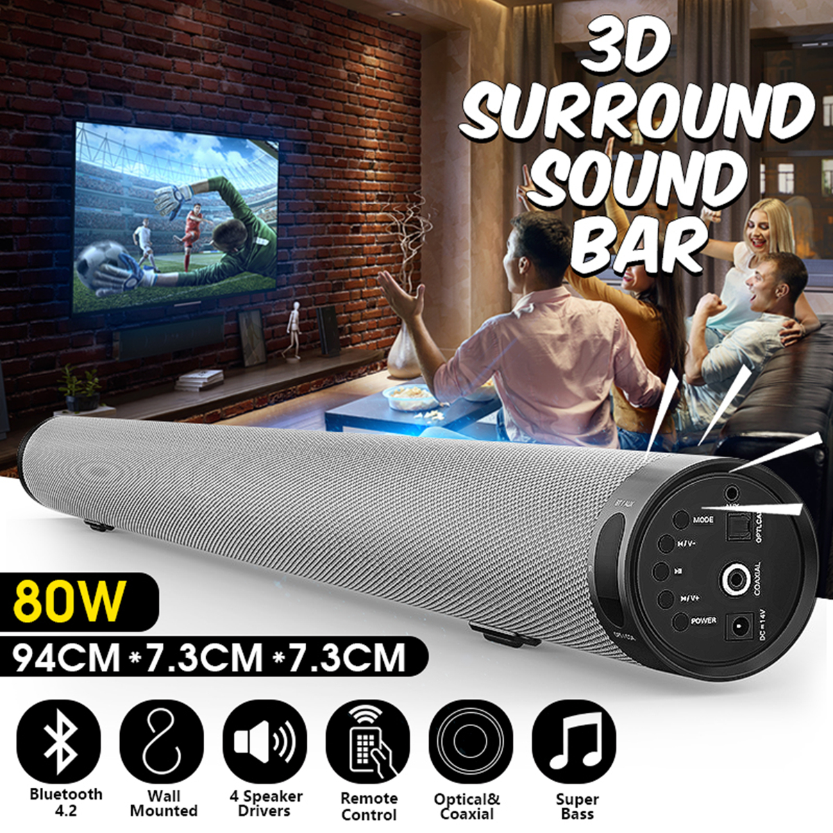 Bluetooth TV Soundbar Wireless Speaker Metal Stereo Long Cylindrical Audio Bluetooth Playback Wall Soundbar for Home Party wireless mini bluetooth soundbar for tv